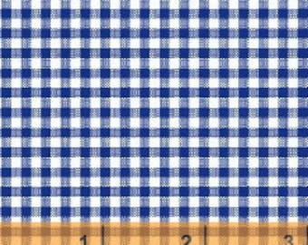 Bolt End - 12 inches - Navy Gingham Check by Windham Fabrics