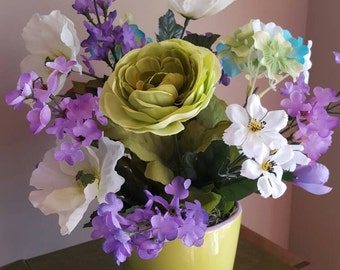 Peony and Lilac Floral Arrangement, Purple and Green Flower Arrangement, Peony Flowers, Purple Floral Arrangement, Tabletop Decor, Poppies