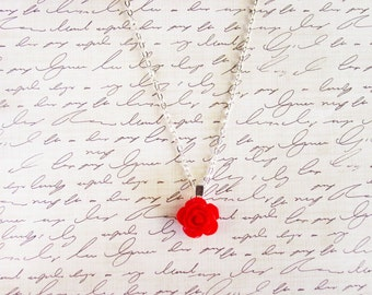 Red Rose Necklace with Silver Chain, Red Floral Pendant Necklace, Resin Flower Jewelry