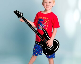 Boy Rock Star Birthday Shirt with Guitar and Embroidered Name