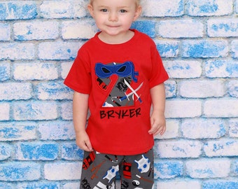 Boy Red Ninja Number Birthday Shirt and Embroidered Name