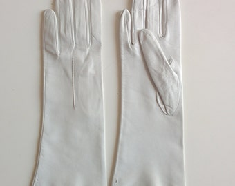 1950s french white leather gloves