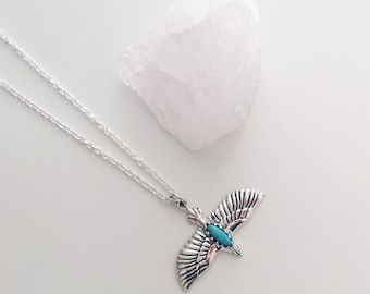 Sterling Silver Turquoise Soaring Eagle Necklace Pendant