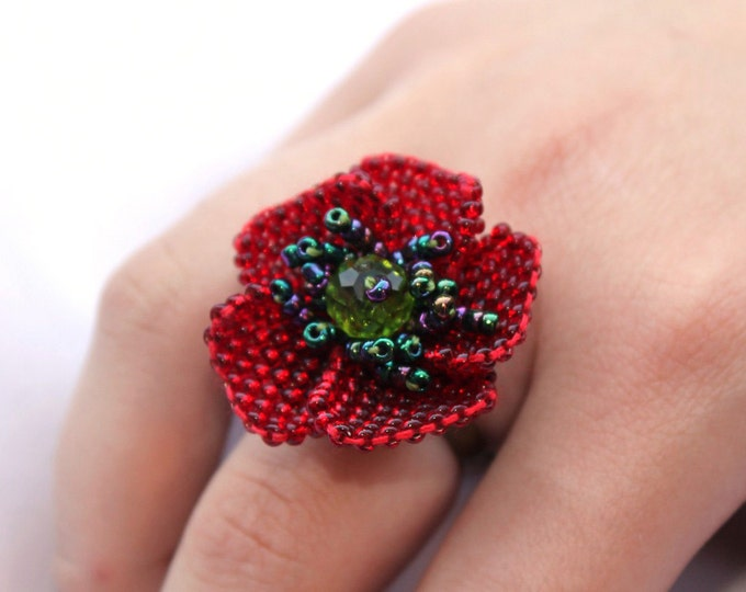Beaded Red Poppy Ring - Red Flower - Ukrainian jewelry - artificial poppy - seed bead floral ring - everyday lucite ring