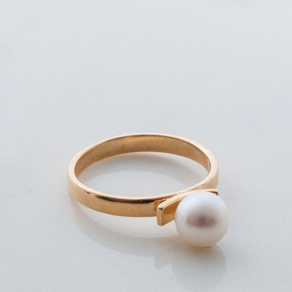 gold pearl ring white pearl ring simple pearl ring big