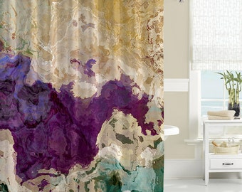 shower curtain abstract art bathroom decor purple cream and green shower