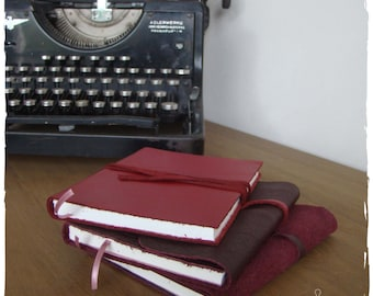 Hand-bound notebook red leather