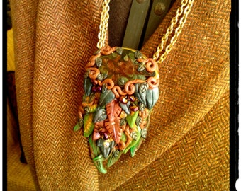 SALE Splendor of the Forest Leaves in Autumn Polymer Clay and Enameling Necklace in Fall Colors  on Double Strand Chain Statement  Necklace