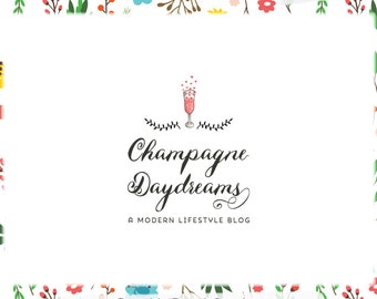 Champagne Hearts Premade Blog Header and Logo Design - Web, Print - Limited Edition! Perfect For Lifestyle Blog + more!
