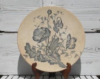 RARE Large antique ironstone wall plate platter, Longchamp French ironstone platter, antique wall plate, vintage platter, transferware