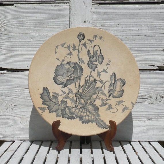 Large antique ironstone wall plate platter, Longchamp French ironstone platter, antique wall plate, French vintage platter, transferware