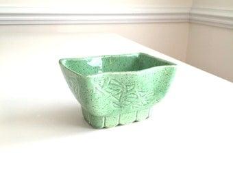 Vintage Planter California Pottery Ceramic Planter Sea-foam Green Speckle CP-4806 USA Rectangle Shape Geometric Design