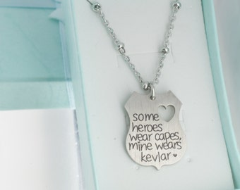 Sterling silver hand stamped necklace some heroes wear for Words to wear jewelry