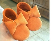 Orange Suede Leather Baby / Toddler  Moccasins- Any style