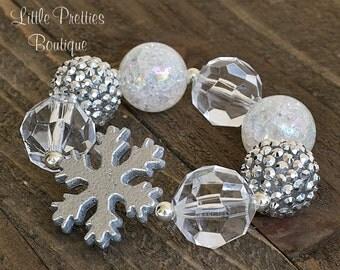 White & Silver Snowflake Bubblegum Bracelet, Holiday Bracelet, Christmas Bracelet, Children's Bracelet, Girl's Bracelet, Chunky Bead , BB63