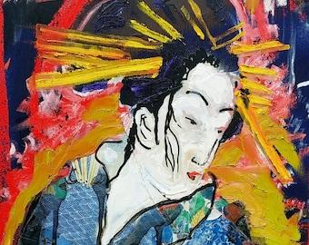 Japanese Geisha Art by Matt Pecson 12x12 MADE TO ORDER Japanese Art Geisha Painting Asian Art Asian Decor Canvas Wall Art Canvas Painting