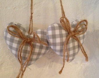 Grey Cotton Gingham  - Hanging Hearts Pair - with Jute String