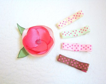 Baby hair clips flower and dots, Flower baby clips, Toddler hair clips, Flower clips, Dotted hair clips, Baby gift set, Gift for girls