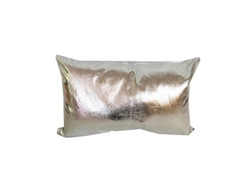 Silver Pillow-Silver Leather Pillow-Faux Leather Pillow- Lumbar Pillow