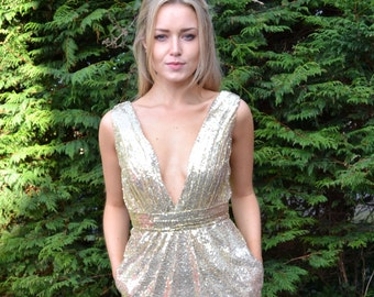Custom made 'Rosie' short sequin gown with plunging v-neck front and back and side pockets