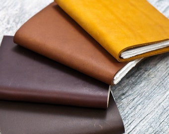 SALE Pocket Leather Journal Notebook Personalized CHEERY MISHAPS