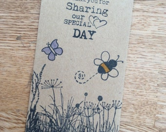 10 x Kraft Wedding Wild Flower Seed Favour Envelopes Packets Vintage Shabby Chic