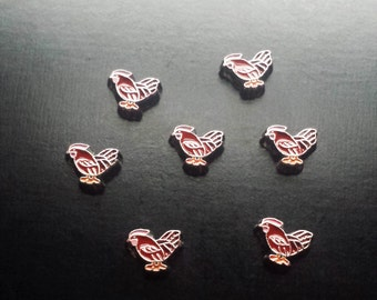 Chicken Floating Charm for Floating Lockets-Red-Farm Charms-Gift Idea