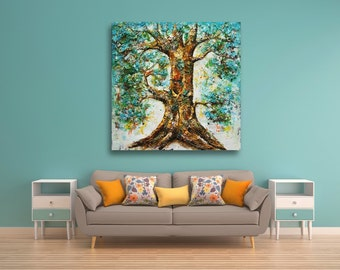 """Original Large Art 48""""W x 48""""H Big Tree Green Color Oil Painting / Thick Textured Impasto Wall Art / Mixed Media Thick Layers Painting"""