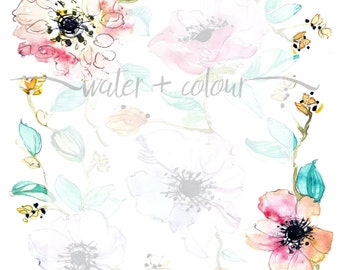 Downloadable watercolor floral stationery/invite