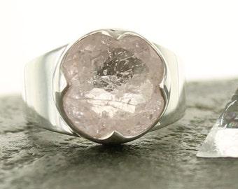 Morganite Silver Ring. Size 7.5. Natural stone