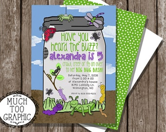 BUG BASH Bug Birthday Party First 1st 2nd 3rd Printable Bug Jar  Bugs PHOTO Invitations Invitation Custom and Personalized