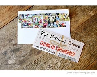 Calling All Superheroes! Newspaper Birthday Invitations - Custom Design - Personalized - Unique and Fun!