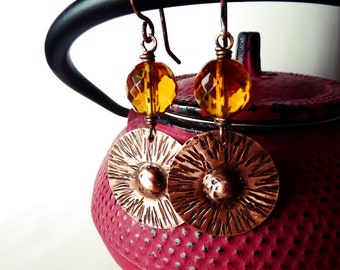 Texturized copper and Ochre yellow crystal earrings