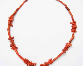 Antique branch coral necklace with tiny Moroccan cross or boghdad