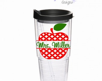Personalized Teacher Tumbler Tervis Style 24 oz Tumbler Acrylic Cup BPA