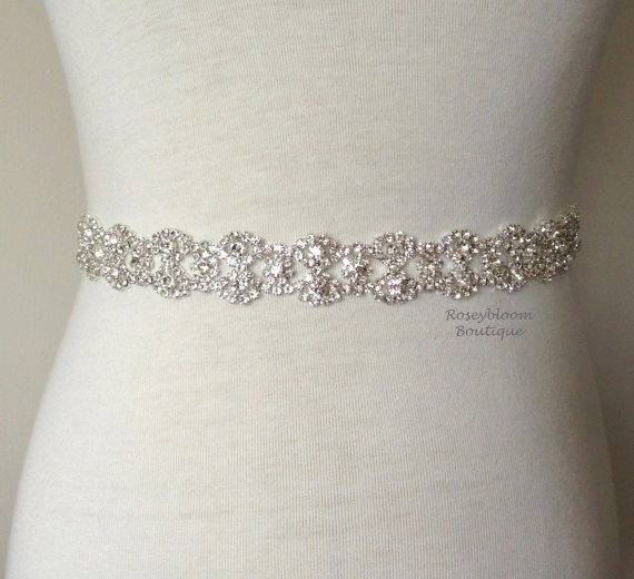 Rhinestone Sash Wedding Sash Bridal By Roseybloomboutique