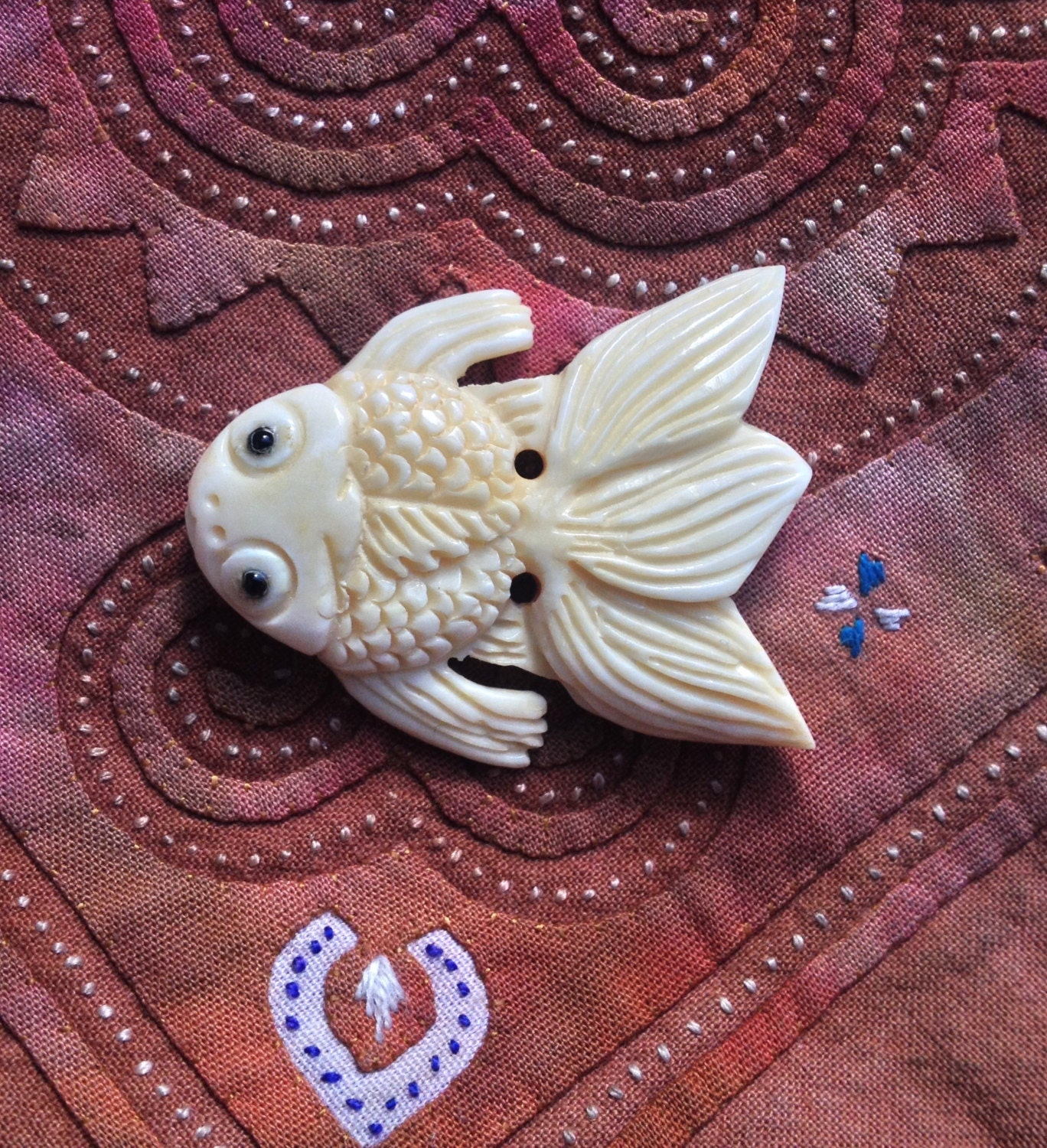 Hand carved bone koi fish bead 1 1 2 inches from for Koi fish beads