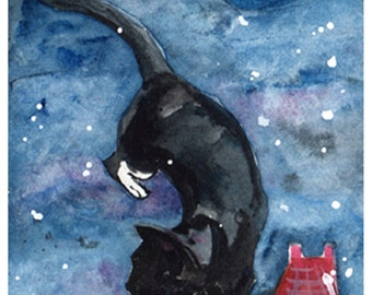 "Cat Greeting Card  Note Card from original handmade watercolor painting ""Guardian of the Night""