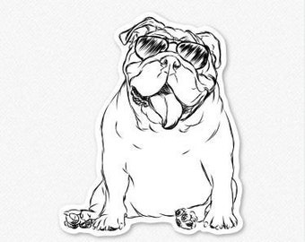 Tank - English Bulldog Decal Sticker, English Bulldog Art, English Bulldog Print, Gifts For Dog Owner, Dressed Dog, Bulldog Decal
