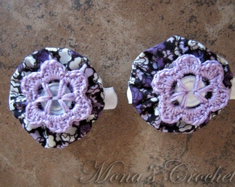Hand Crocheted Lavender Button Flower And Fabric YoYo Hair Barrette | Crochet Hair Clip | Crochet Hair Barrette - Set of 2