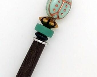 Teachers Gift Shawl Stick | Hair Stick | Scarab Jewelry | Hairsticks | Shawl Pins | Beaded Shawl Pin |  Scarf Pin | Scarf Stick | Wood Stick