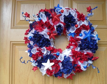 Red, White and Blue Deco Mesh Wreath