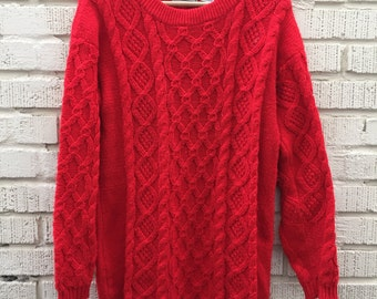 Vintage Red Sweater. Cable Knit. Medium. Large. Andrew St John