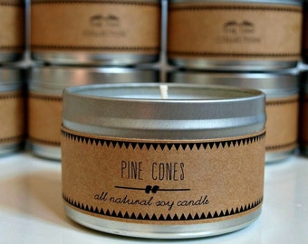 PINE CONES // Soy Candle. Natural Candle. Scented Candle. Eco Friendly. Vegan Friendly. Holiday Candle. Gift for Her.