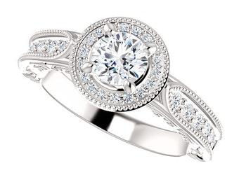 Platinum Diamond Halo Engagement Ring milgrain finish handmade