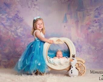 Elsa Dress Princess Flower girl dress, Christmas tutu dress, sky blue bridesmaid dress, Elsa Frozen princess dress, crochet top tulle dress