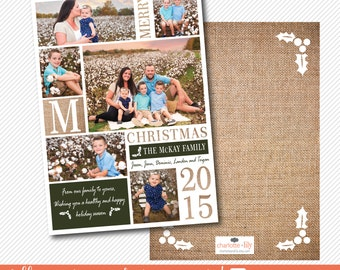 christmas photo card, chistmas picture card, rustic christmas card, burlap christmas card, holiday card, personalized family christmas card