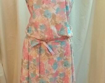 Vintage Handmade Dress Plus Size! Warm Floral Print Cute Tie Sleeves