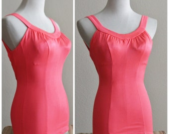 Free Shipping Vintage 60's 70's DE WEESE DESIGN Hot Neon Coral Pink Los Angeles California One Piece Bullet Bra Swim Suit Bathing Pin Up