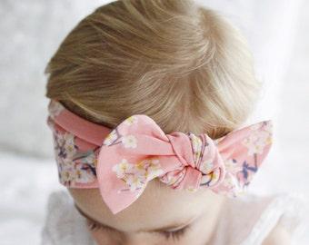 Japanese Blossom -top knot baby headband, turbans for tots